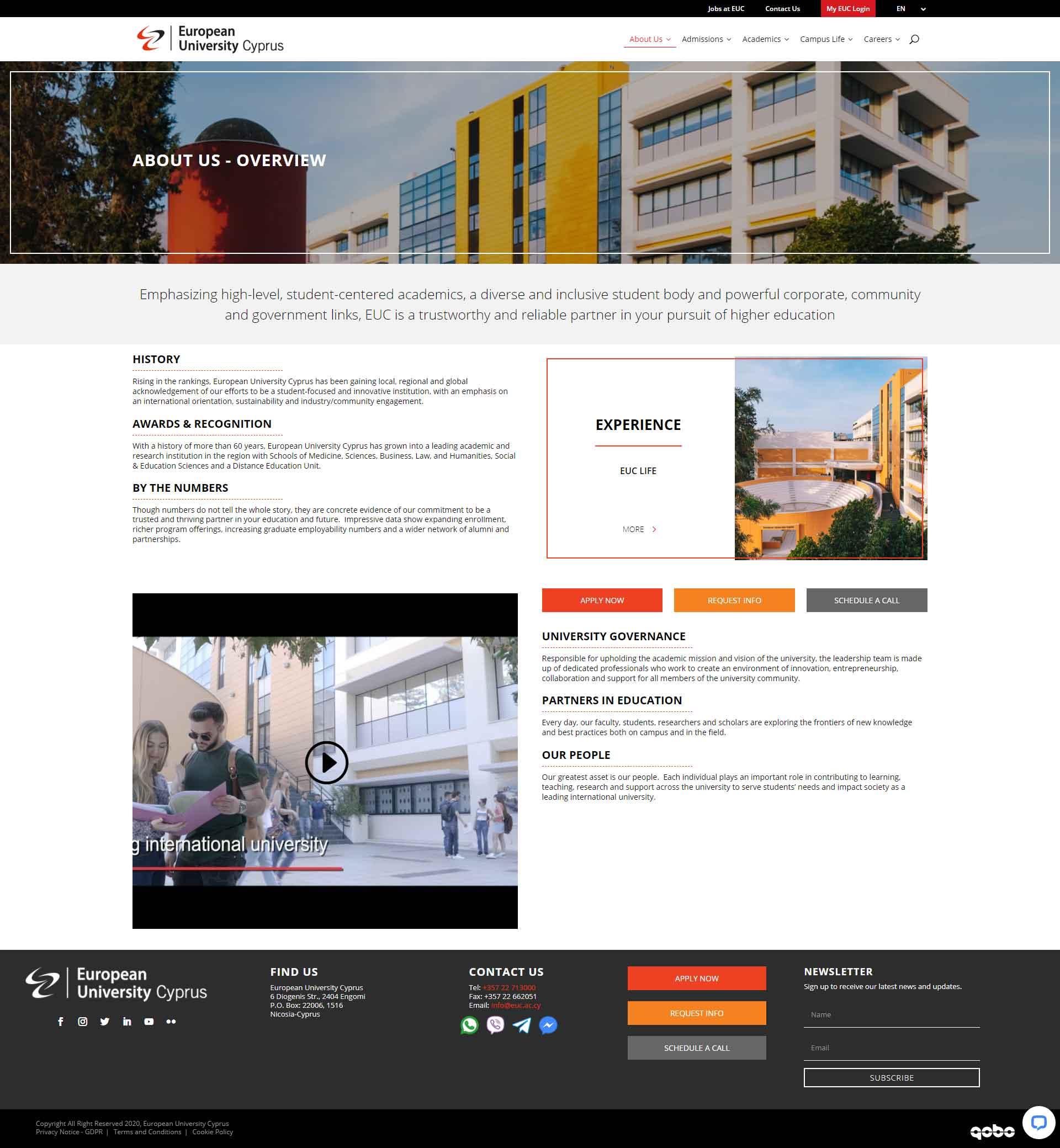 European University Cyprus Website with effortless navigation and CTAs