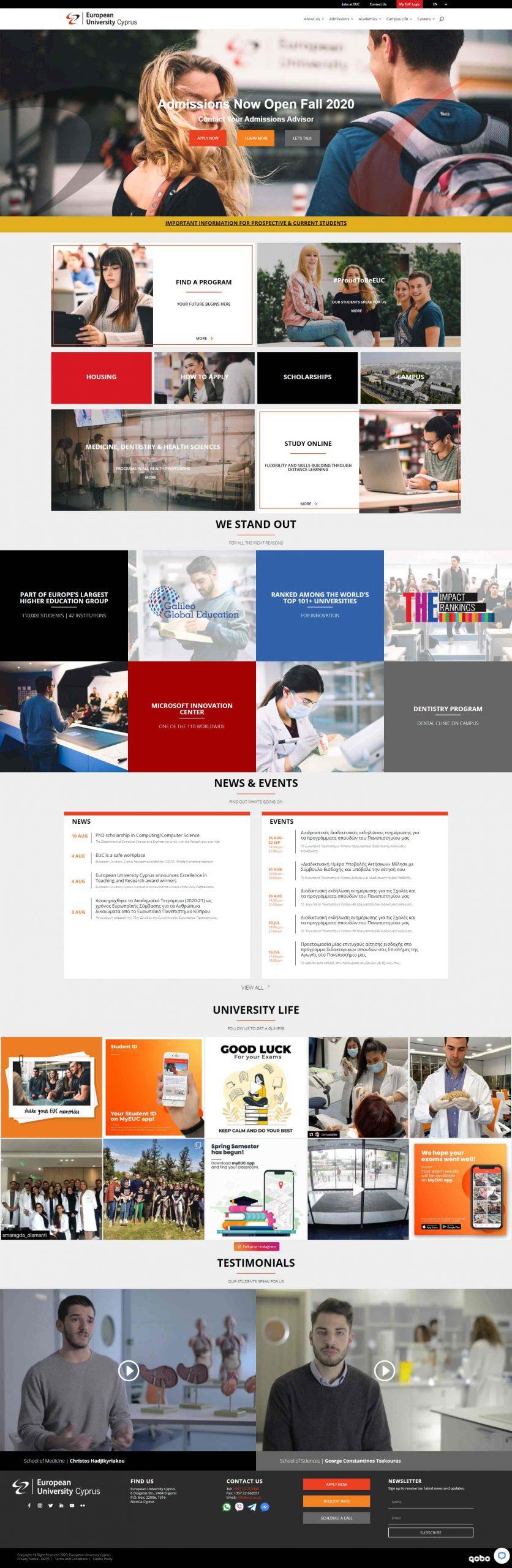 European University Cyprus Website Redesign