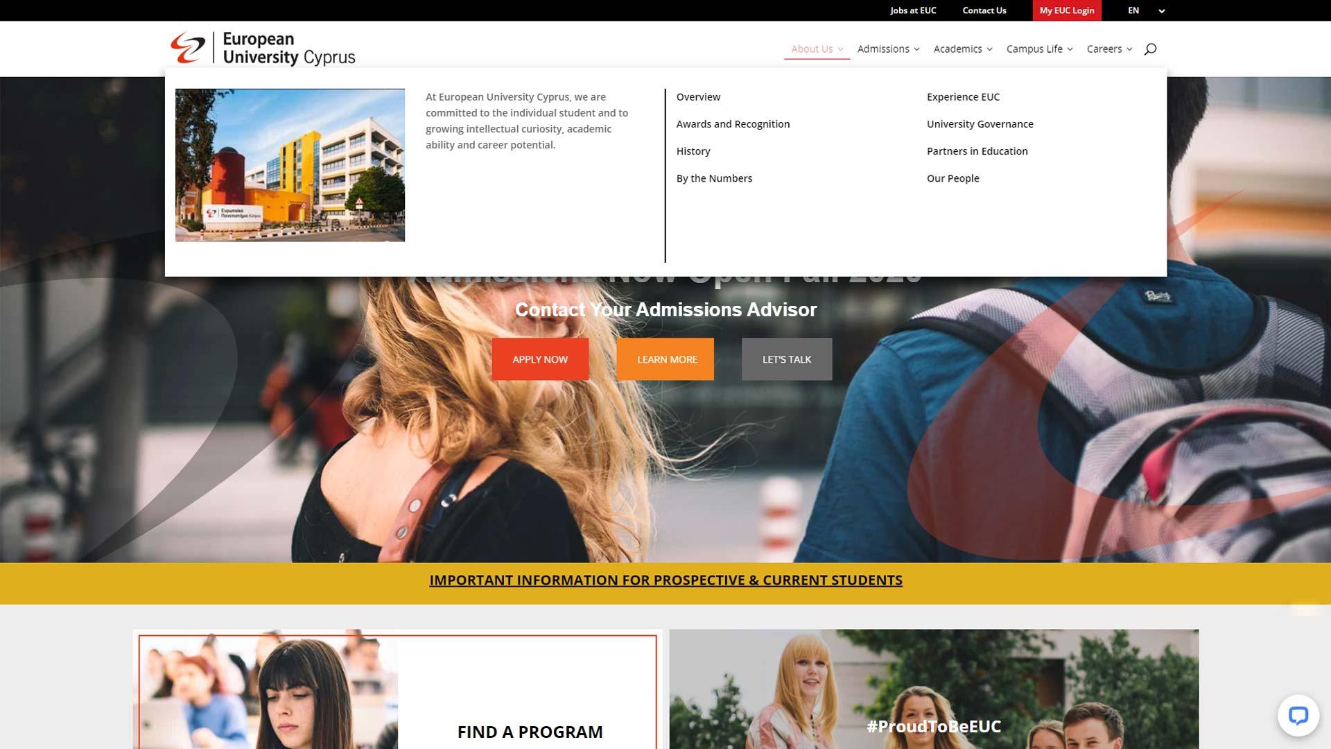 European University Cyprus Website featuring mega menu