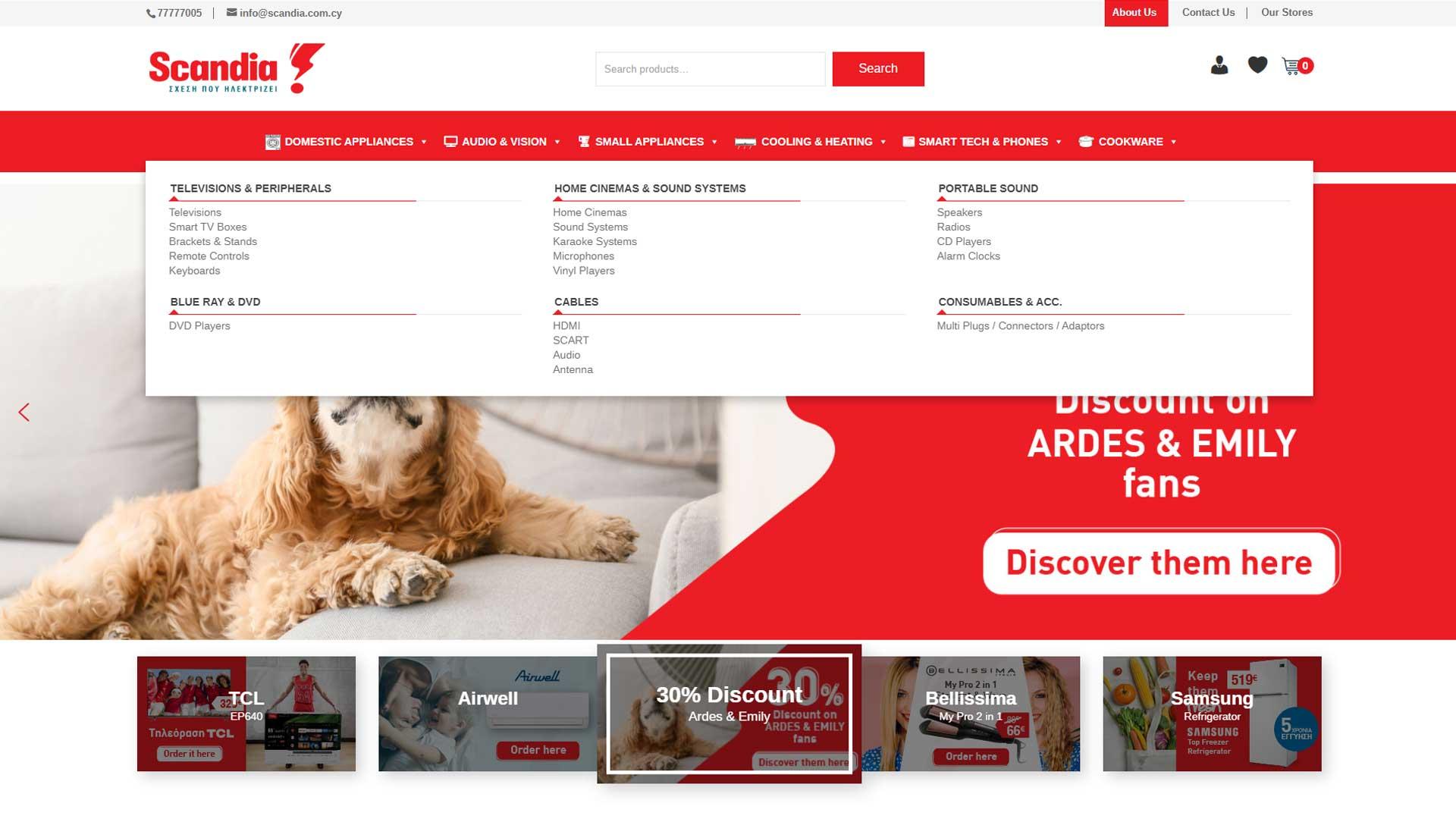 Scandia e-commerce store mega menu design